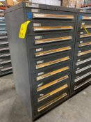 STANLEY VIDMAR 9 DRAWER INDUSTRIAL PARTS CABINET/TOOL BOX WITH CONTENTS