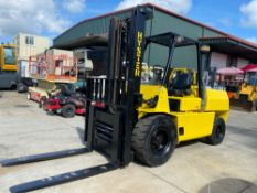 "HYSTER H10XL2 10,000 LB CAPACITY FORKLIFT, 136"" HEIGHT CAPACITY, GAS, TILT, SIDE SHIFT, HYDRAULIC FO"