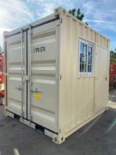 UNUSED 9' CONTAINER/PORTABLE OFFICE WITH WINDOW AND SIDE DOOR ENTRANCE (LOCKING), FORKLIFT POCKETS