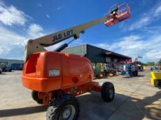 JLG 400S DIESEL BOOM LIFT, 40' PLATFORM HEIGHT, BUILT IN GENERATOR, 5,490 HOURS SHOWING, RUNS AND OP