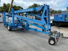 GENIE TMZ-50/30 TOW BEHIND ARTICULATING MAN LIFT 50' HEIGHT, HONDA GAS MOTOR, CONDITION UNKNOWN, ENG