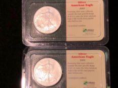 LOT OF 2 SILVER AMERICAN EAGLE COINS 1 OZT 2002
