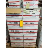 PALLET LOT OF 44 CASES OF 3.5X5.5X1 GOLD FOIL COTTON STUFFED BOXES. APPROX 4400 BOXES TOTAL