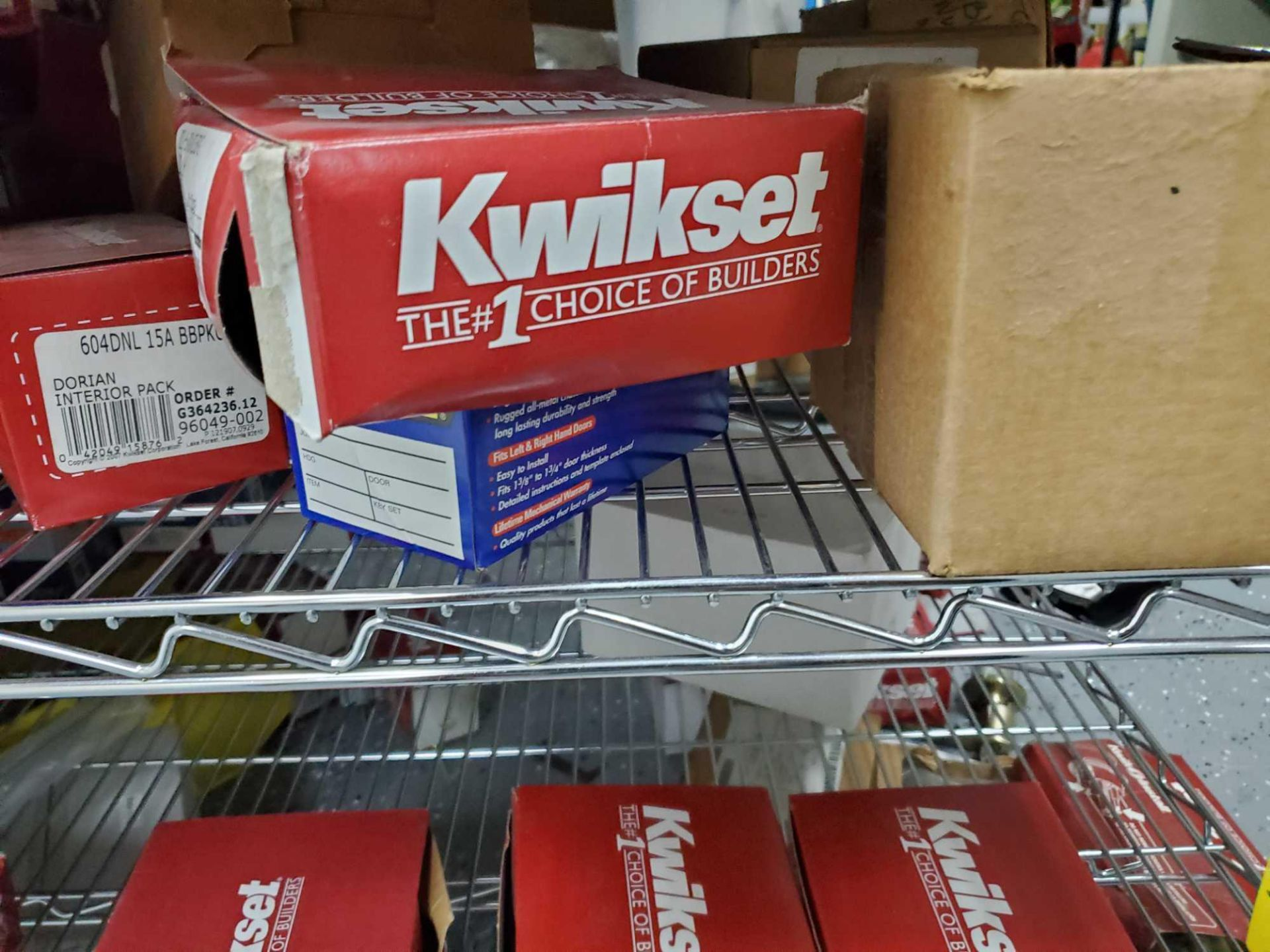 SHELF LOT OF KWIKSET SCHLAGE ETC APPROX 120 BOXES - Image 5 of 10