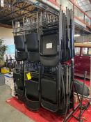 LARGE LOT OF FOLDING CHAIRS WITH ROLLING RACK