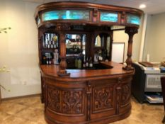 """CUSTOM CARVED WOOD BAR WITH SINK. CURVED GLASS; LED LIGHTS. APPROX 72""""'DEEP X 90""""'WIDE X 92""""TALL (DO"""