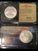LOT OF 2 SILVER AMERICAN EAGLE COINS 1 OZT
