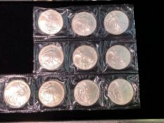 LOT OF 9 2004 AMERICAN EAGLE 1 OZT SILVER COINS SEALED IN PLASTIC