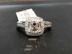 1.20CT ASCHER CUT H COLOR VVS2 CLARITY DIAMOND SET IN .28CT SIDE DIAMOND 18K WHITE GOLD RING