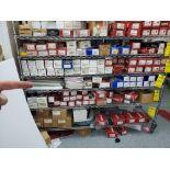 SHELF LOT OF KWIKSET CAL-ROYAL ETC DOOR LOCKS, LEVERS FLUSH BOLTS AND MISC PVC ADDRESS SIGNS
