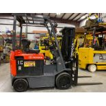 "TOYOTA 7FBCU25 ELECTRIC FORKLIFT, 5,000 LB CAPACITY, 170.5"" HEIGHT CAPACITY, TILT, SIDE SHIFT, 36V,"