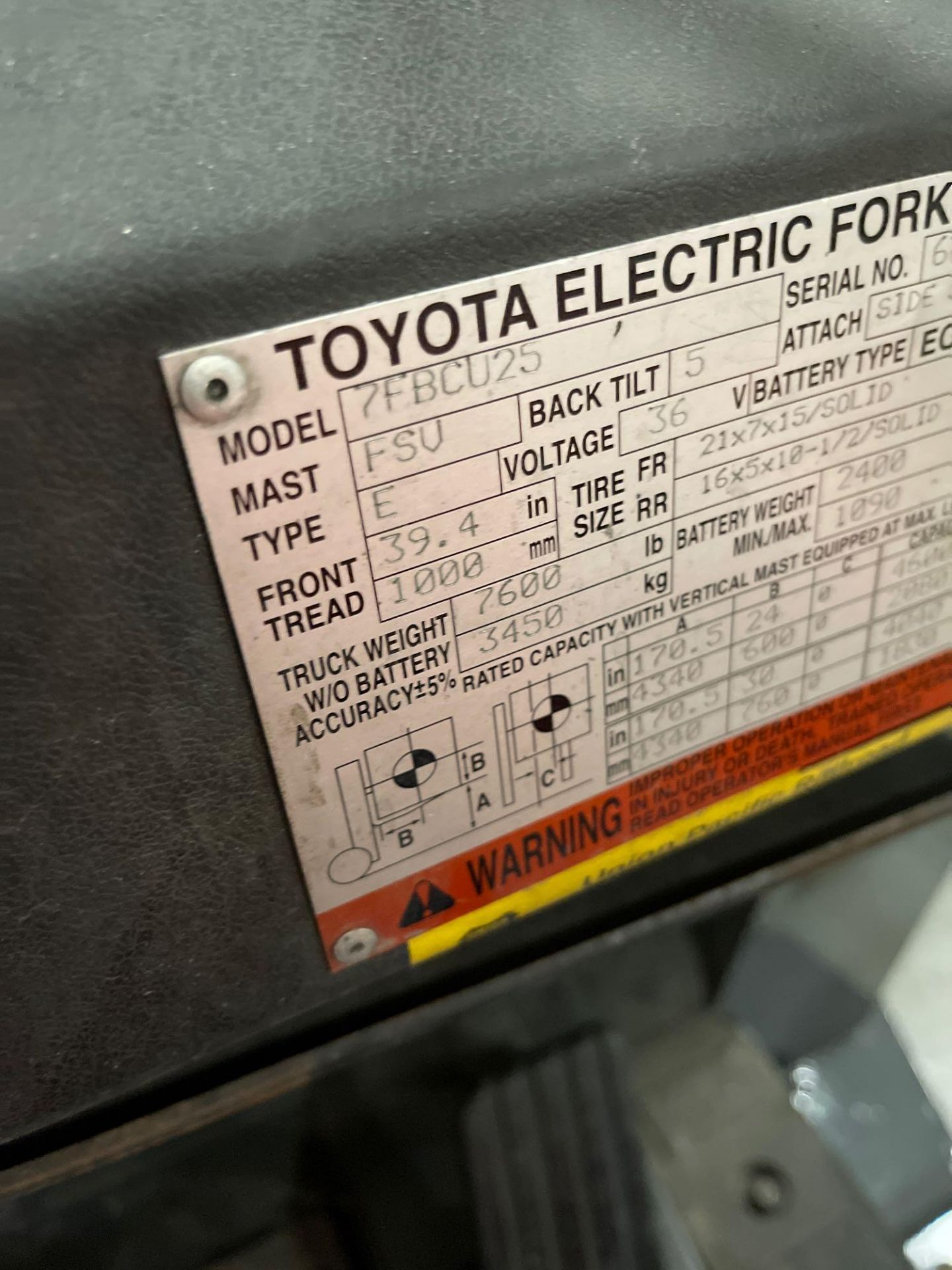 """TOYOTA 7FBCU25 ELECTRIC FORKLIFT, 5,000 LB CAPACITY, 170.5"""" HEIGHT CAPACITY, TILT, SIDE SHIFT - Image 12 of 16"""