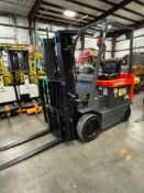 "TOYOTA 7FBCU25 ELECTRIC FORKLIFT, 5,000 LB CAPACITY, 170.5"" HEIGHT CAPACITY, TILT, SIDE SHIFT"