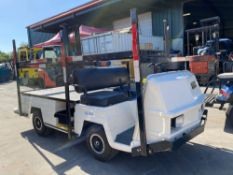 EZ-GO ELECTRIC CART WITH FLAT BED AND RACKING, RUNS AND DRIVES