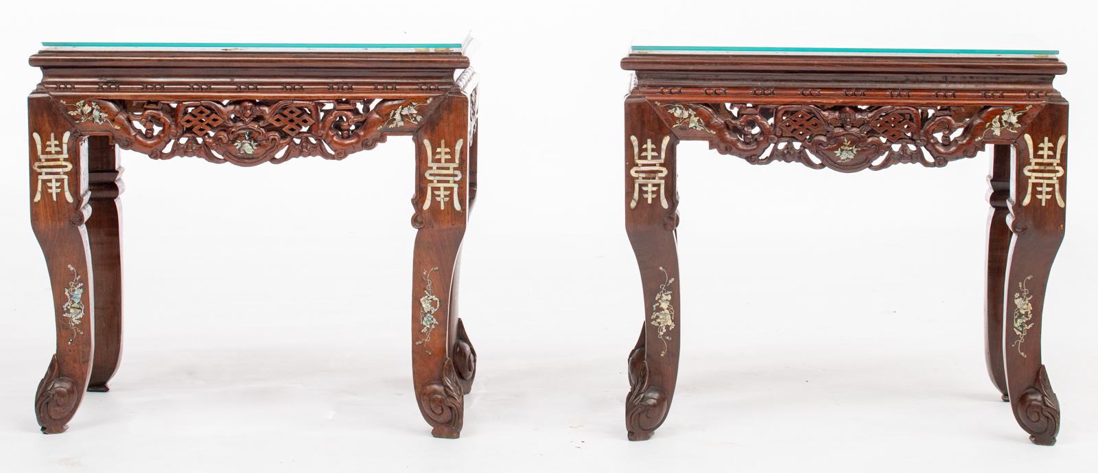 Lot 446 - A fine Chinese exotic hardwood salon set, consisting of four armchairs, one coffee table and two sid