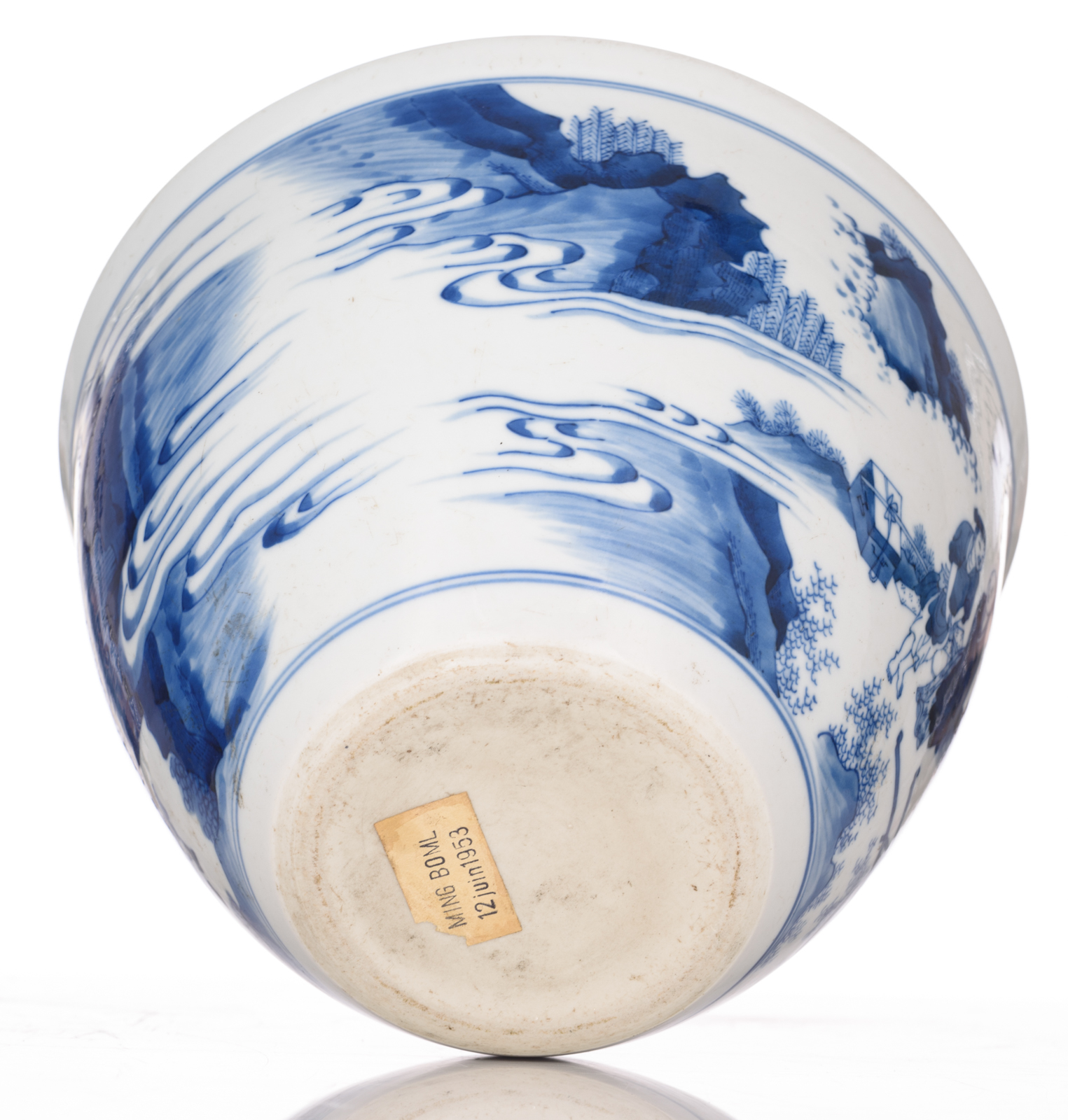 Lot 40 - A Chinese transitional type blue and white jardiniere, decorated with figures, on a matching hardwoo