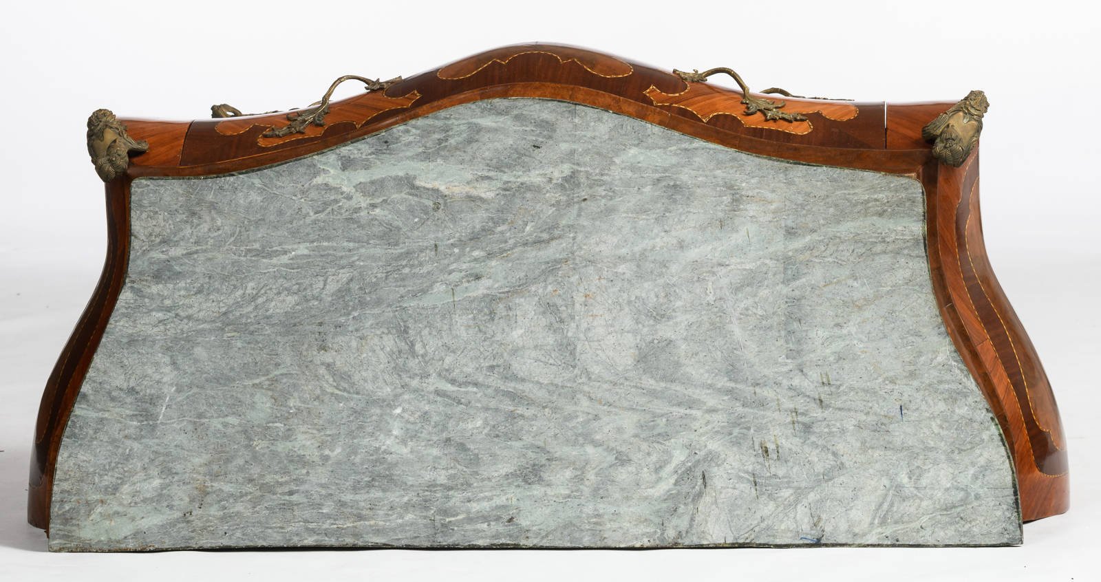 Lot 1073 - A Louis XV style bronze mounted bombe commode, marquetry veneered with mahogany, burl walnut and ros