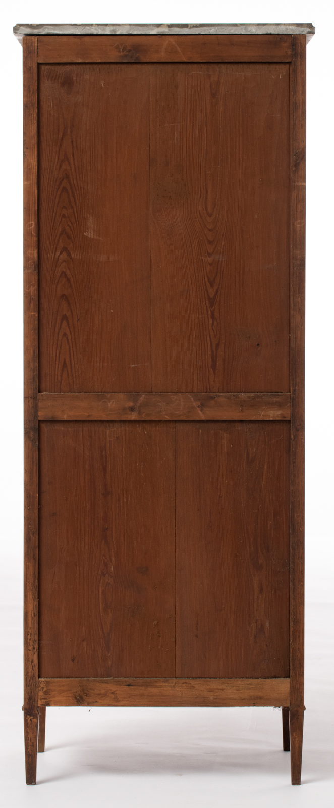 Lot 1072 - A slender mahogany veneered fall front desk with Neoclassical gilt bronze escutcheons and a gris Sai