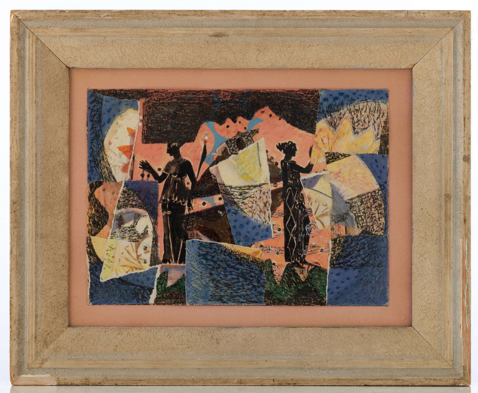 Lot 959 - Agar E., figures in a landscape, dated 1944, collage, watercolour and gouache on paper, 25 x 35 cm I