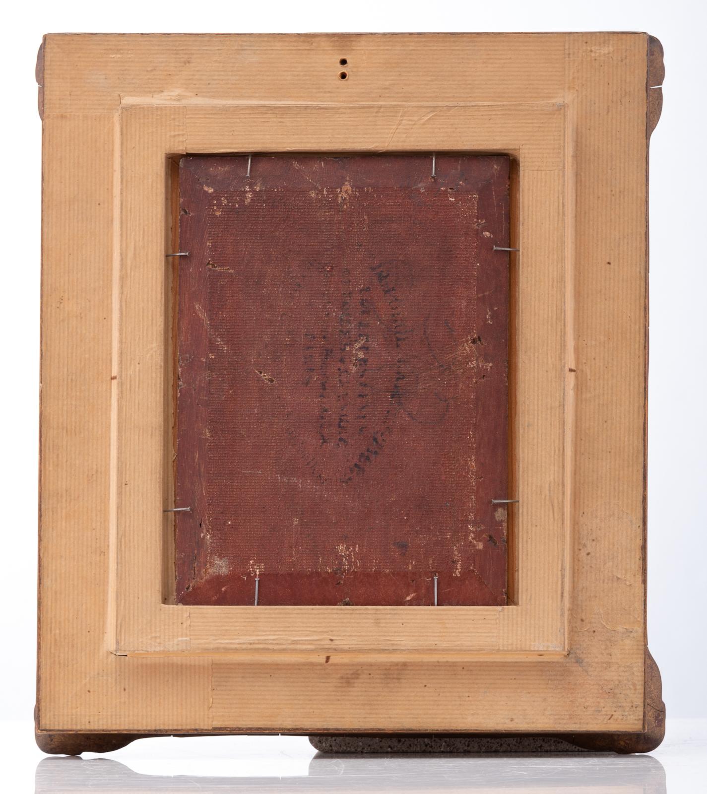 Lot 575 - Fichel E., backgammon players in a salon, oil on panel, 16 x 22 cm