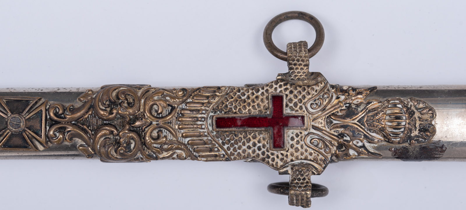 Lot 1234 - A very richly decorated silver-plated sabre of the order of Malta, the blade depicting various scene