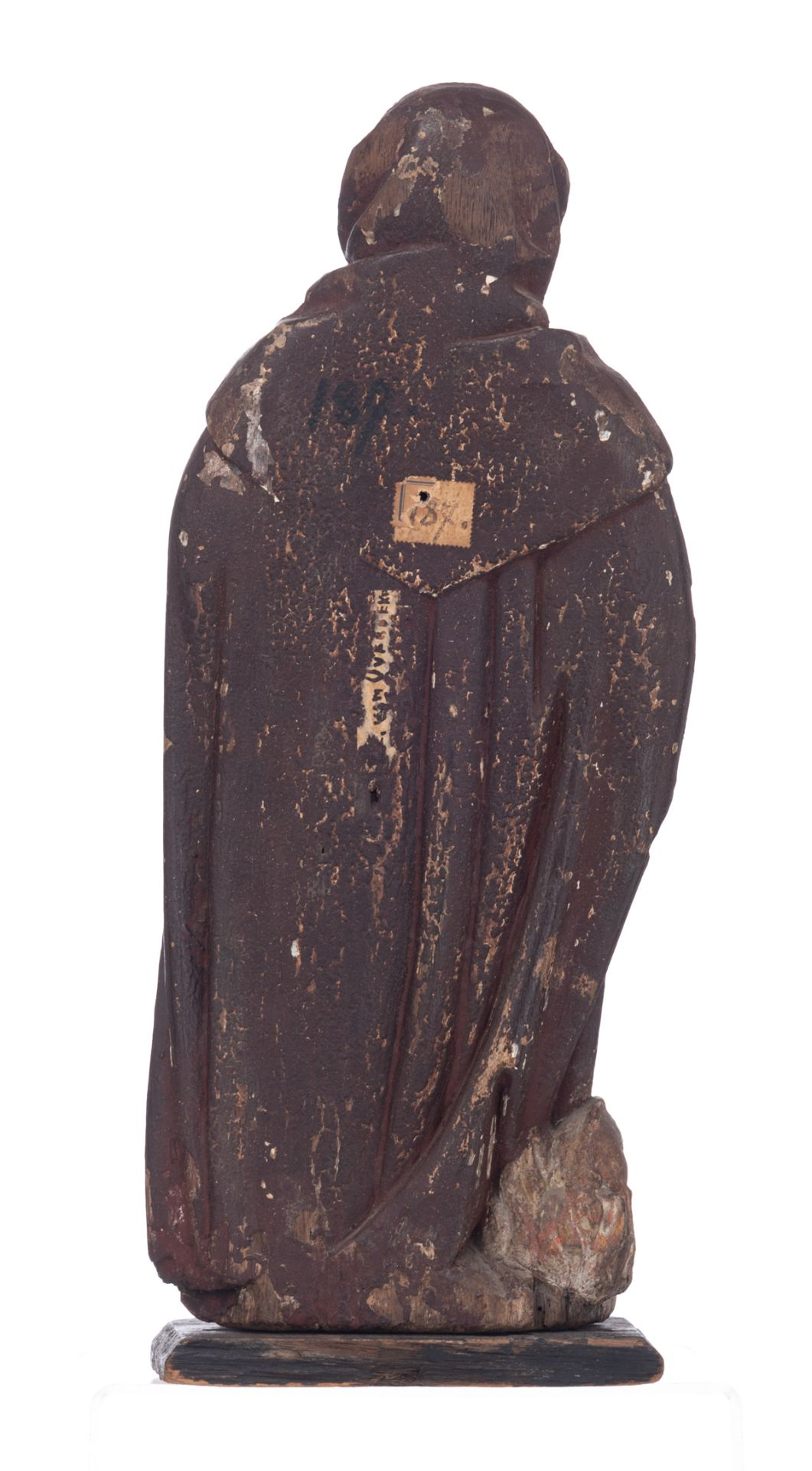 Los 473 - Saint Anthony Abbott, a 17htC oak sculpture with traces of polychrome paint, Southern Netherlands, H