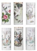 Six Chinese polychrome decorated cylindrical vases