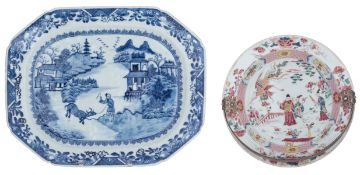 A Chinese famille rose export porcelain dish