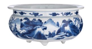 A Chinese blue and white tripod bowl