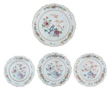 Three Chinees famille rose flower-shaped export porcelain plates