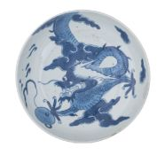 A Chinese blue and white dragon dish