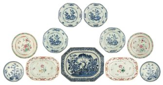 Six Chinese blue and white export porcelain dishes and a ditto octagonal Nanking ware plate