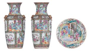 Two Chinese Canton famille rose decorated vases