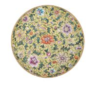 A Chinese famille jaune floral decorated plate