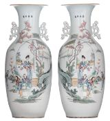 A pair of Chinese Qianjiang cai vases with double decoration