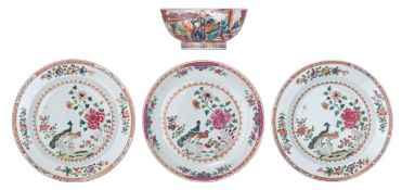 Three Chinese famille rose export porcelain dishes