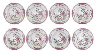 Eight Chinese famille rose 'Double Peacock' export dishes