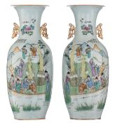 A pair of Chinese Qianjiang cai vases