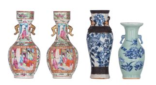 Two Chinese Canton famille rose floral decorated vases