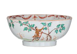 A Chinese famille rose and gilt decorated 'European Subject' punch bowl