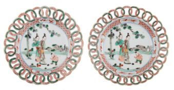 A pair of Chinese Kangxi period famille verte 'Ring' dishes