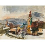 Josef Dobrowsky* Village view with church, 1935