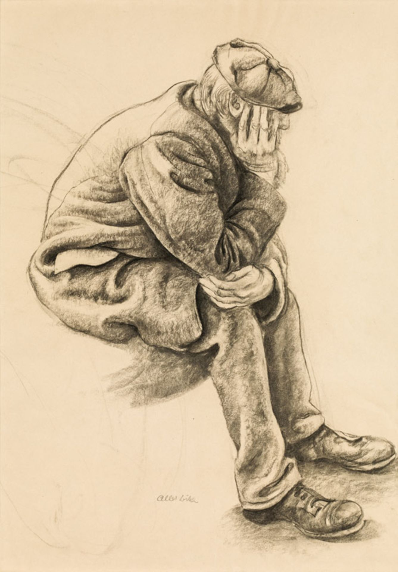 Albert Birkle* Bearded worker with coat and hat, seated with head resting on his hand, 1924<