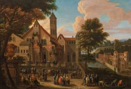 Mathys Schoevaerdts City view with lively staffage