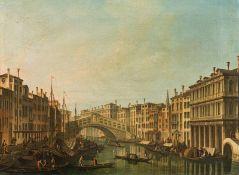 Circle of Giovanni Antonio Canal, genannt Canaletto, The Canal Grande with Rialto Bridge vie