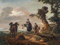 Niederländischer Künstler Equestrians in a wide landscape, 17th century