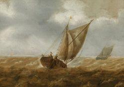 Pieter Mulier der Ältere Sloop in agitated sea