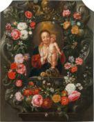 Flämischer Künstler Flower cartouche with Mary and Christ, 17th century