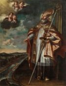 Circle of Martino Altomonte Saint Nicholas, patron of mariners, Traun river in the backgroun