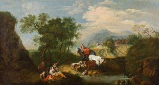 Francesco Zuccarelli Landscape with equestrian and peasants with a heard of animals resting